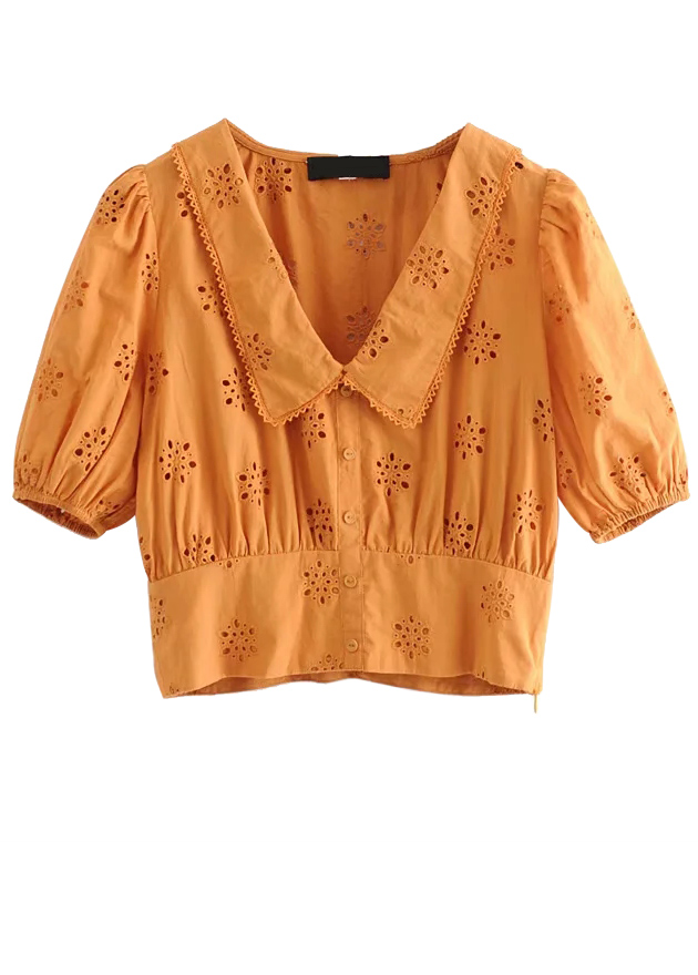Embroidered Crop Blouse in Yellow
