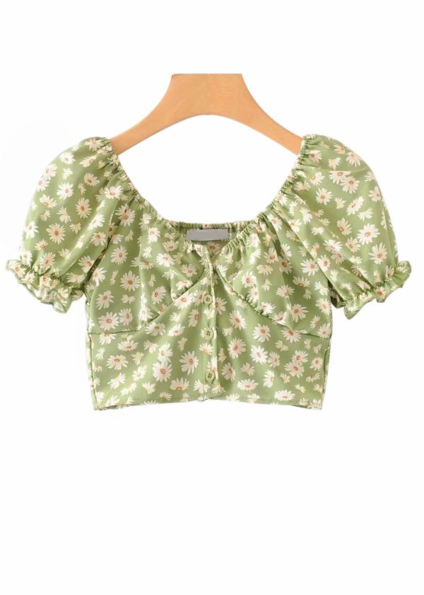 Puff Sleeve Crop Top in Floral