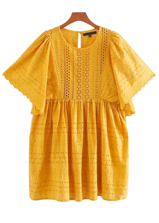 Embroidered Eyelet Detail Dress in Yellow