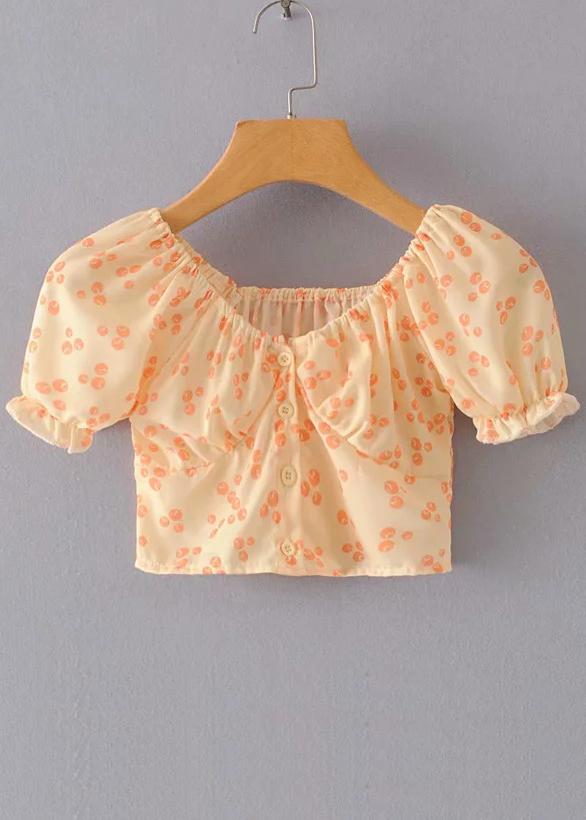 Puff Sleeve Crop Top in Orange Floral