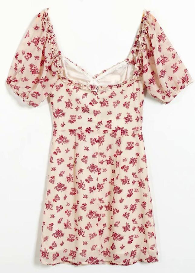 Short Dress in Cream Floral