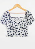 Button Front Crop Top in White Floral