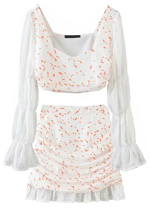 White Floral Set ( Crop Blouse & Skirt )