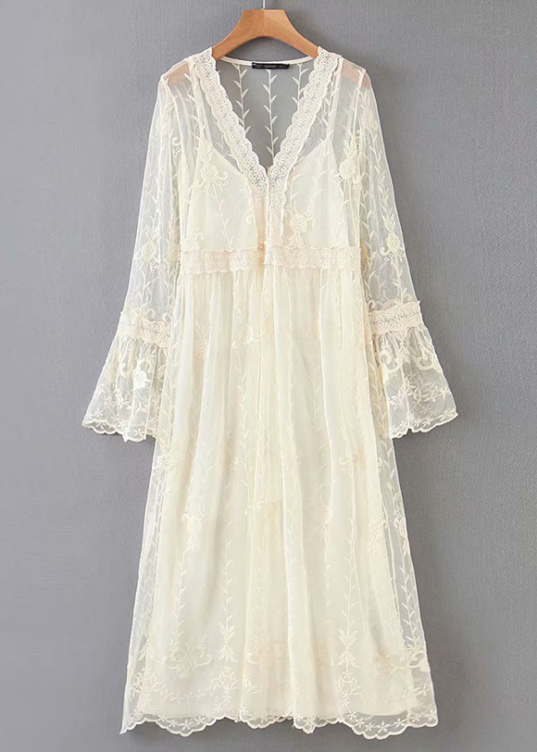 Embroidered Sheer Mesh Maxi Dress in Beige