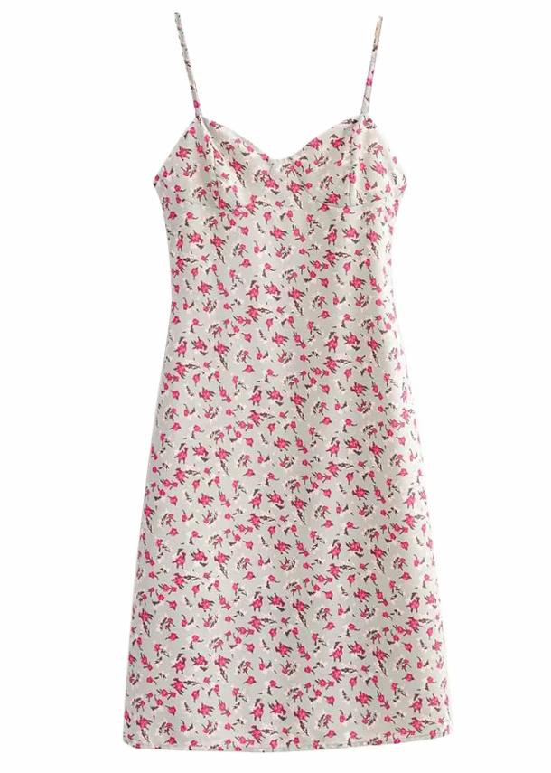 Midi Dress in Gray Floral