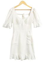 Back Tie Detail Short Dress in White