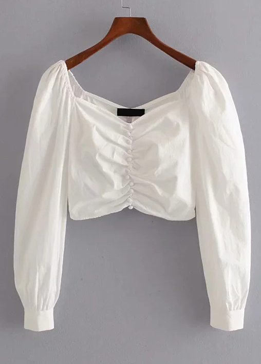 Button Front Crop Blouse in White