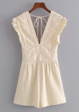 Embroidered Romper in Beige