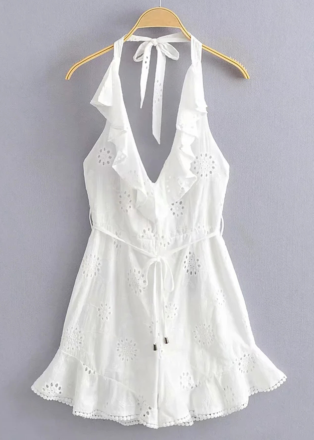 Backless Romper in White
