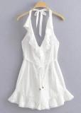 Backless Romper in White