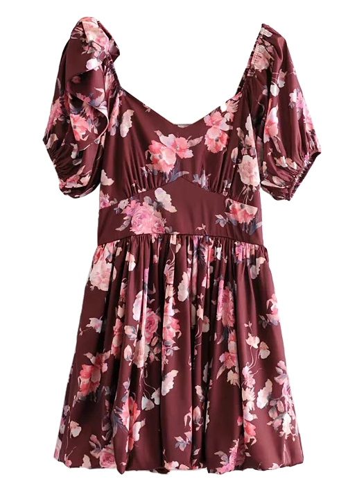 Puff Sleeve Short Dress in Maroon Floral