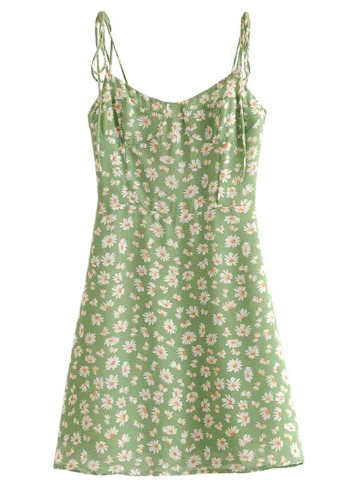 Mini Dress in Green Floral