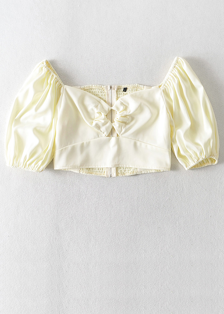 Puff Sleeve Crop Top in Pale Yellow