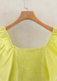 Puff Sleeve Crop Top in Lemon