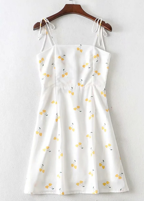 Mini Dress in White Floral