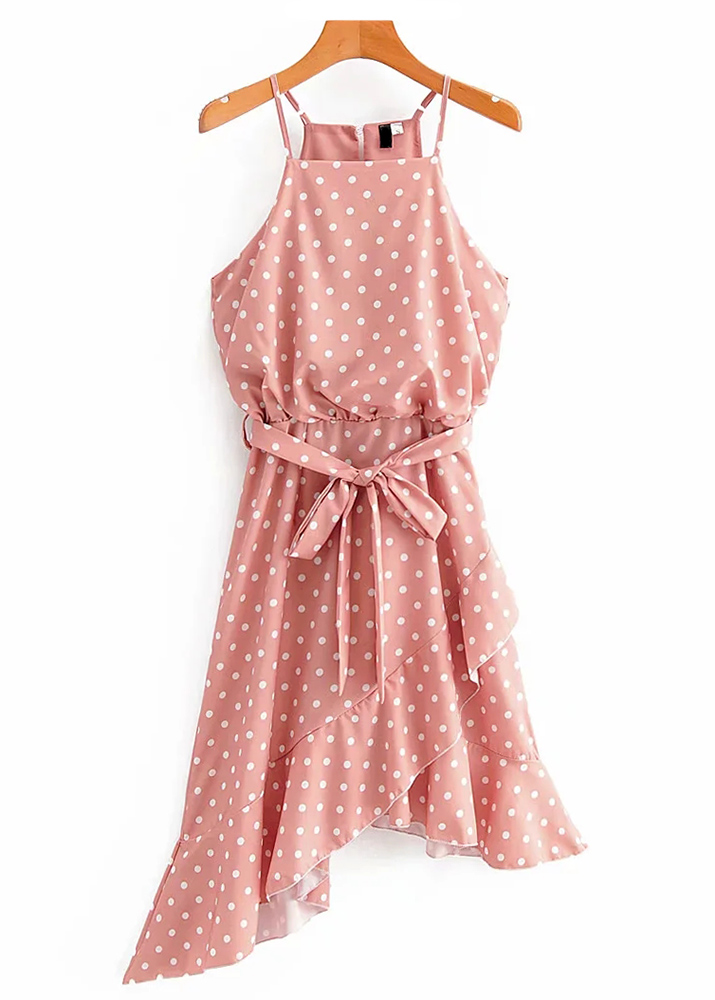 Asymmetrical Hem Dress in Pink Dot
