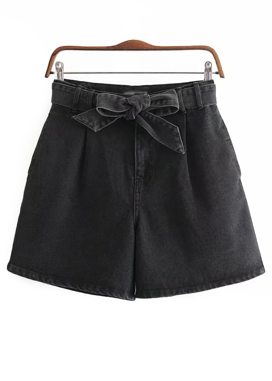 High Waisted Denim Shorts in Black