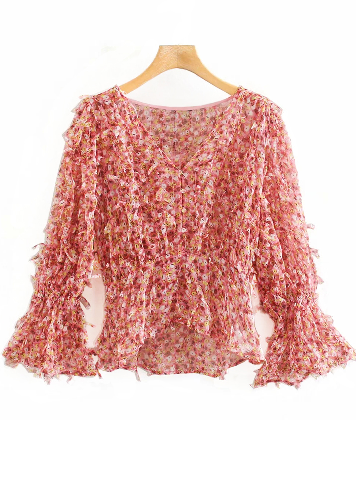 Bell Sleeve Fringed Blouse in Red Floral