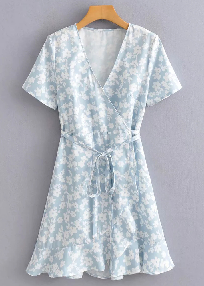 Wrap Dress in Blue Floral