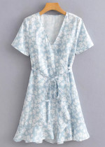 Wrap Dress in Blue Floral