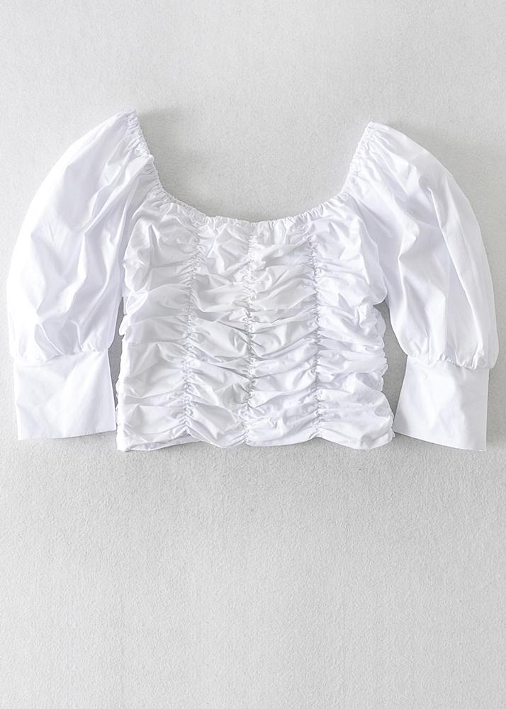 Ruffled Crop Top in White