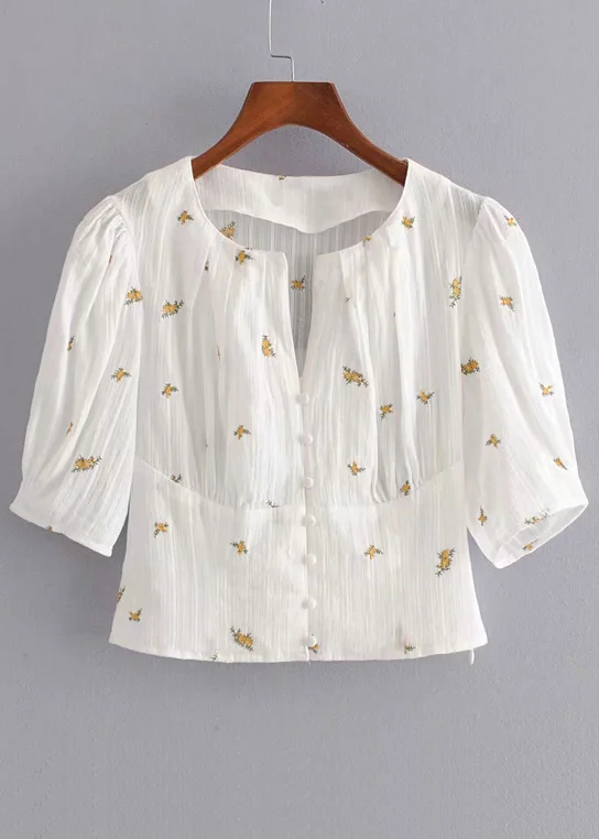 Embroidered Crop Blouse in White