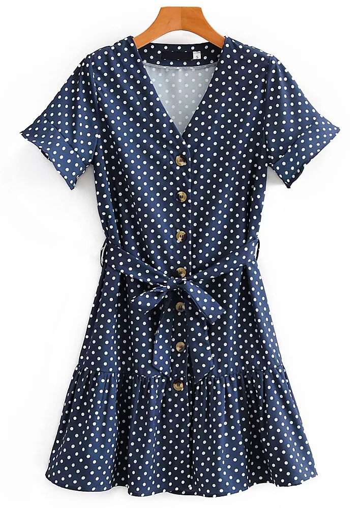 Short Sleeves Dress in Navy Dot