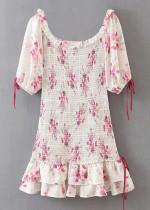 Smocked Short Dress in White Floral