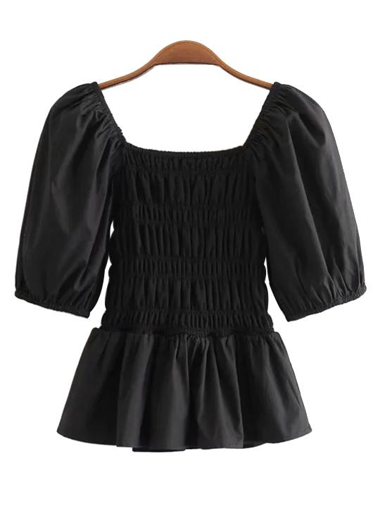 Smocked Blouse in Black