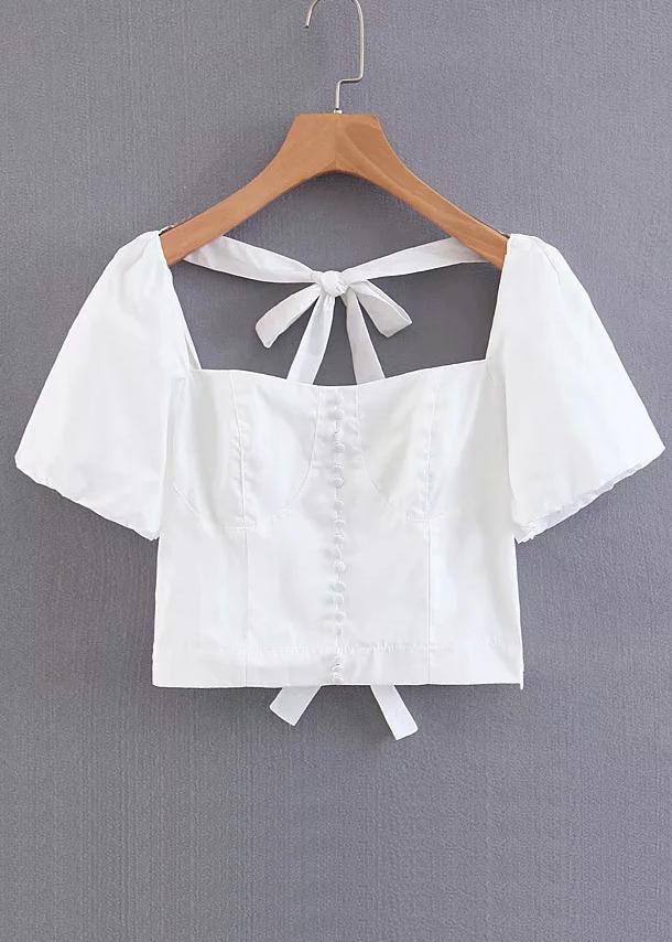 Tie Back Top in White