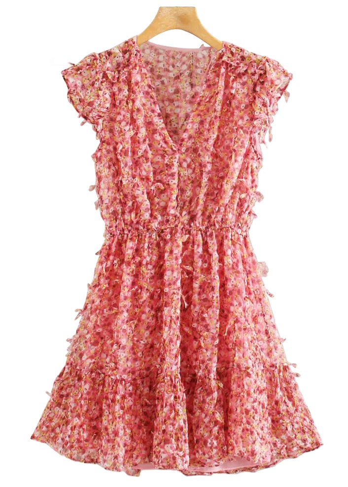 Fringed Dress in Red Floral