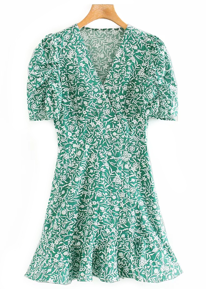 Short Sleeves Dress in Green Floral