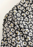 Tie Front Romper in Black Floral