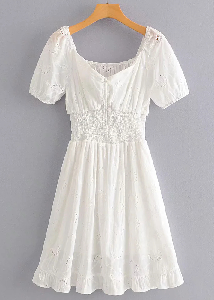 Embroidered Eyelet Short Dress in White