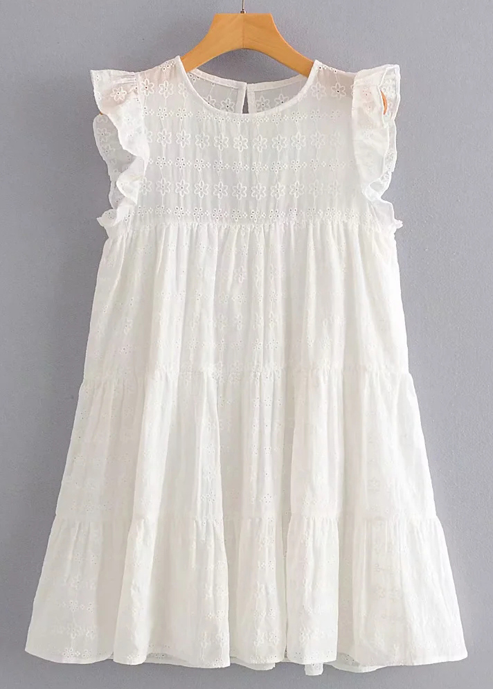Embroidered Short Dress in White