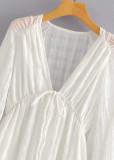 Long Sleeves Dress in White