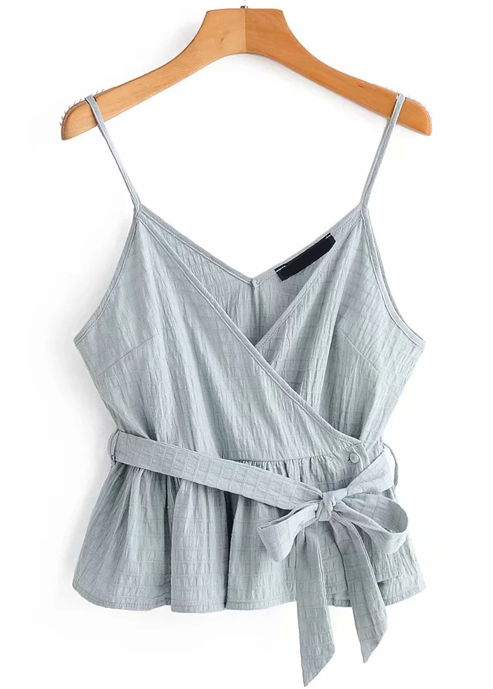 Belted Waist Cami Top in Pale Blue