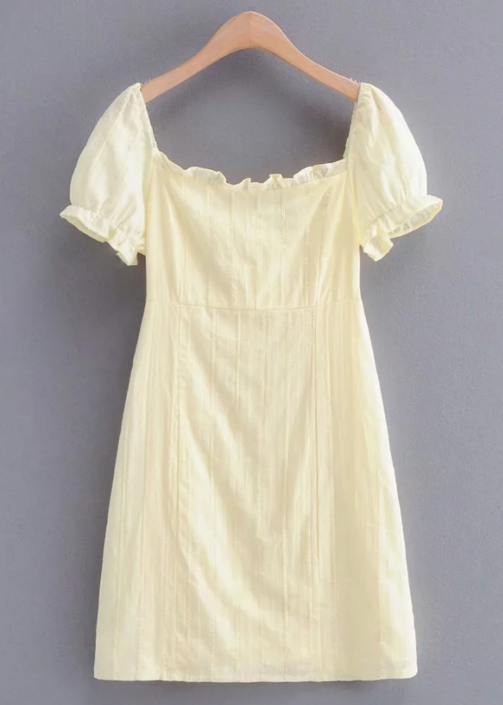Short Dress in Pale Yellow