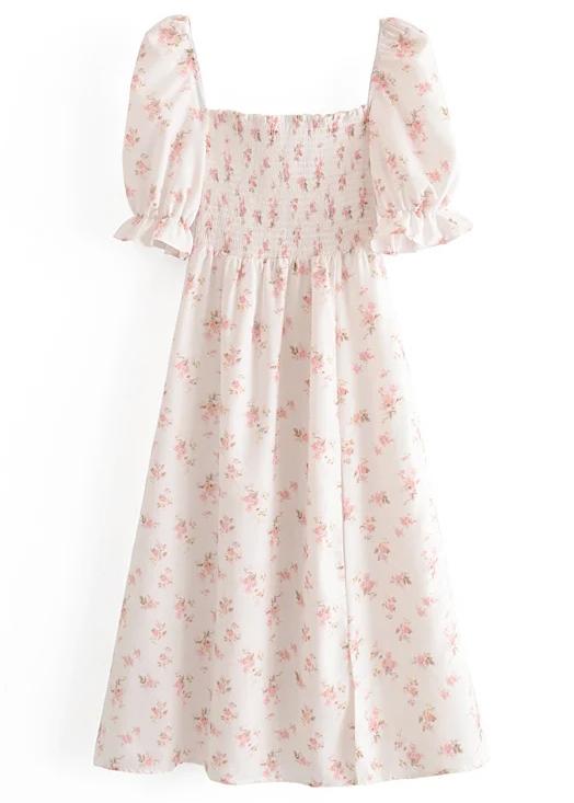 Midi Dress in White Floral