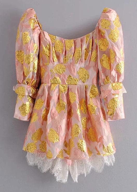Gold Foil Short Dress