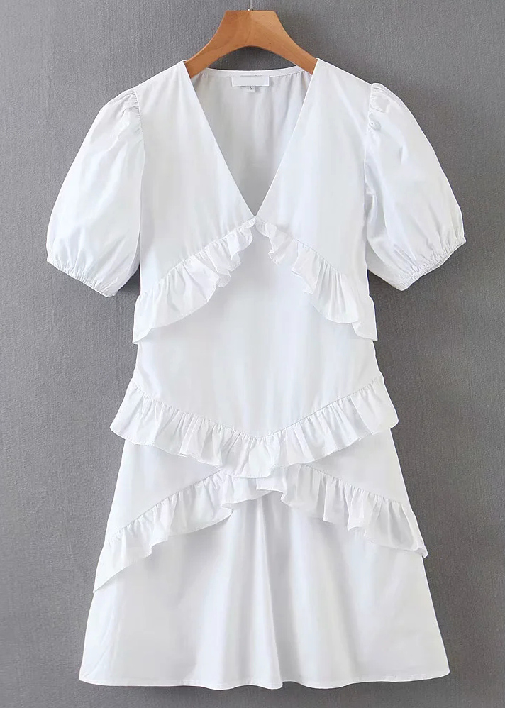Short Sleeves Dress in White