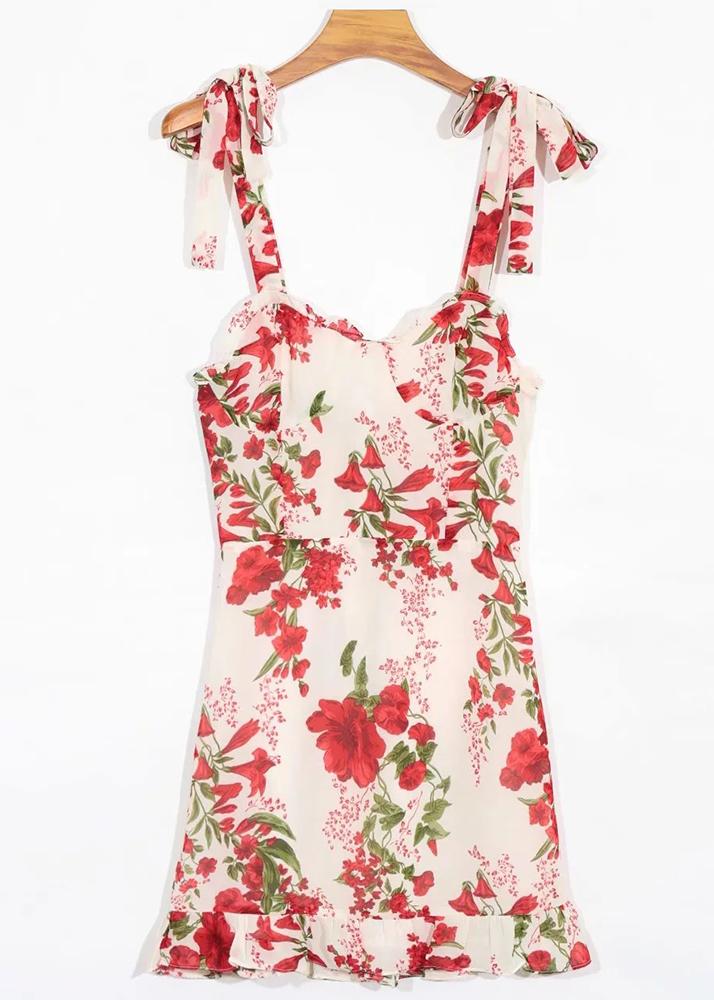 Mini Dress in Cream Floral