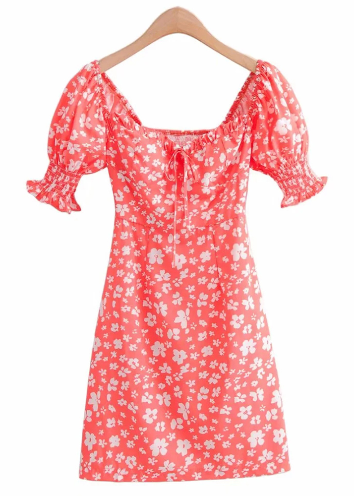 Puff Sleeve Dress in Melon Floral