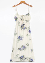 Midi Dress in Cream Floral