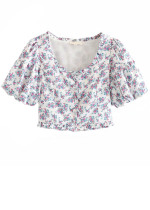 Puff Sleeve Crop Top in White Floral