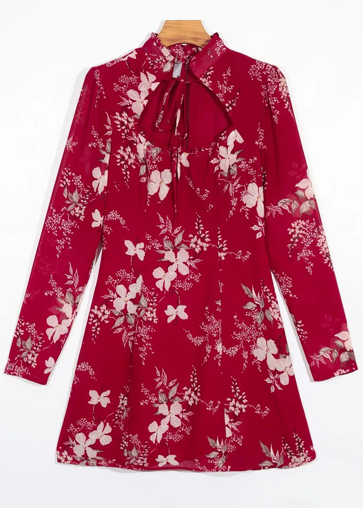 Long Sleeves Dress in Red Floral