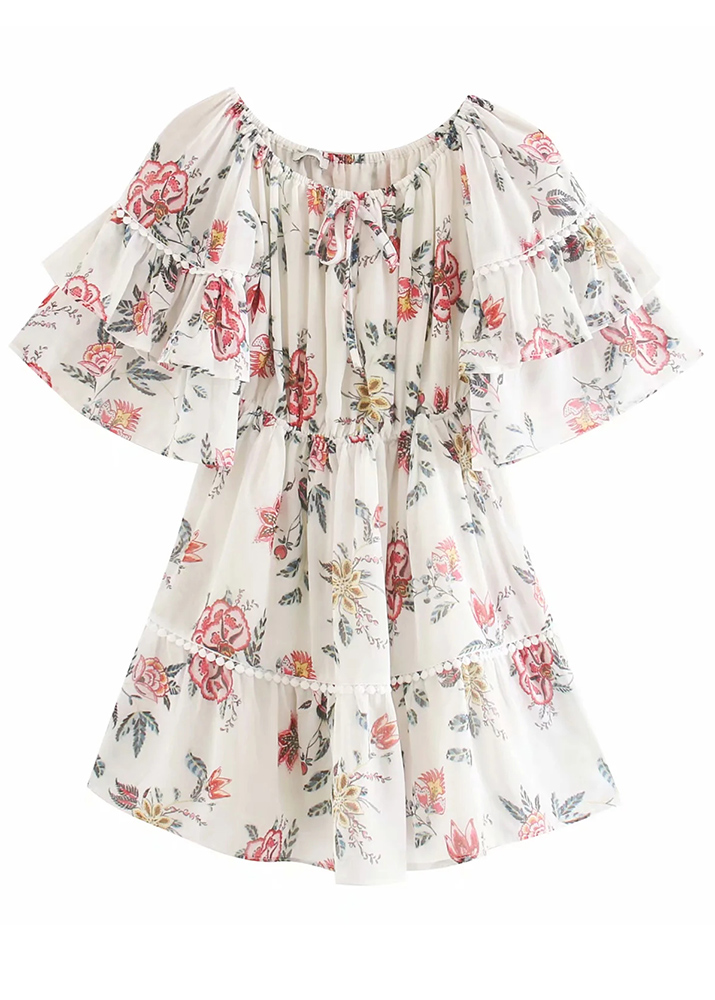 Off Shoulder Dress in White Floral