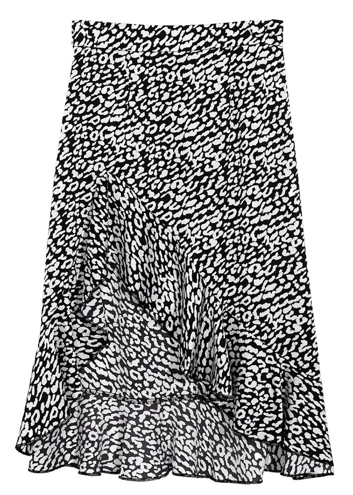Hi-Low Hem Skirt in Black Floral