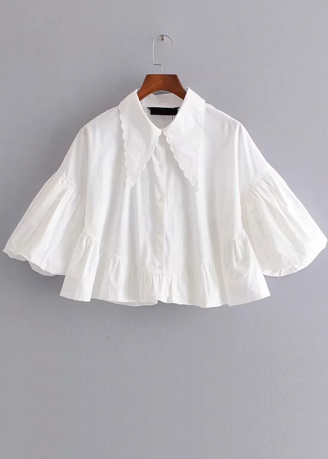 Exaggerated Sleeve Blouse in White