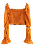 Bell Sleeve Smocked Blouse in Orange